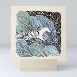 White Gallop Mini Art Print