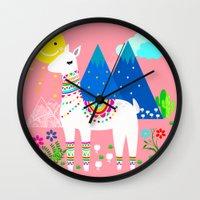 peru Wall Clocks featuring Peru - Pastels by MY  HOME