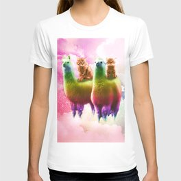Kitty Cat Riding On Rainbow Llama In Space T-shirt