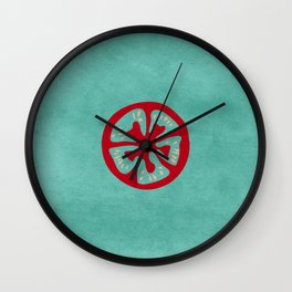 Aqua Tomato Slice Wall Clock