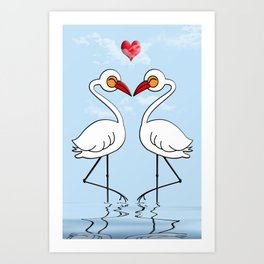 Heron Birds In Love Art Print