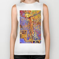 chicago Biker Tanks featuring chicago by donphil