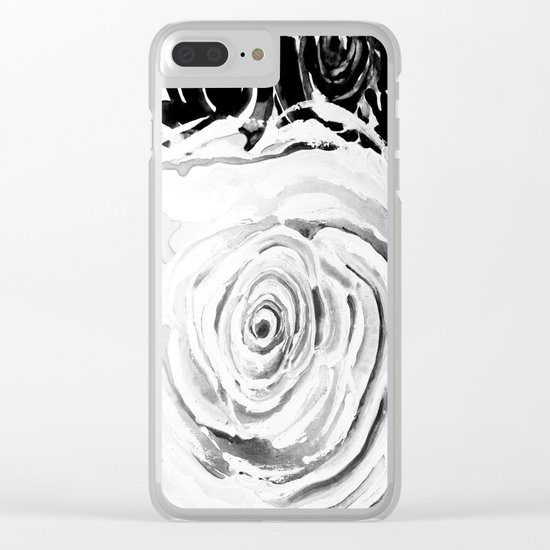 Roses For A Romantic Heart, Black and White Clear iPhone Case