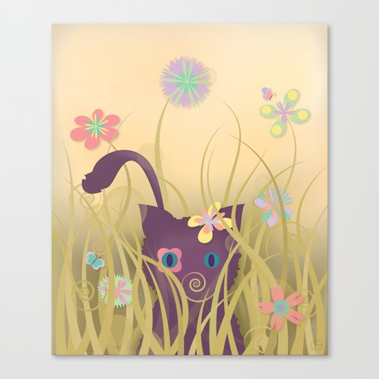 Wild Kitty Cat, Spring Blooming Flowers, Golden Beige Sky Canvas Print