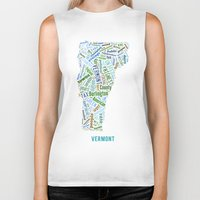 vermont Biker Tanks featuring Word Cloud - Vermont by Ross Bell