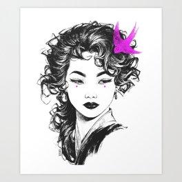 Magenta Bird Art Print