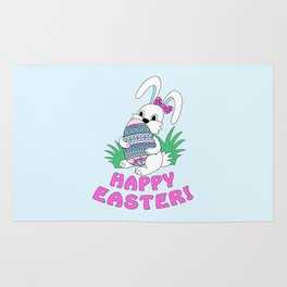 Happy Easter with cute bunny kepping ornamental egg Rug