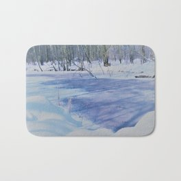 winter landscape aquarell Bath Mat