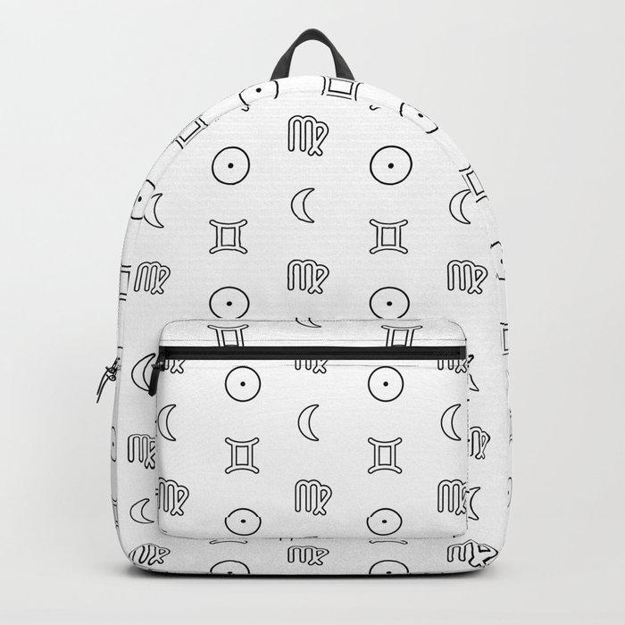 Gemini/Virgo + Sun/Moon Zodiac Glyphs Backpack by roamandroot