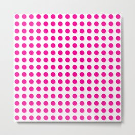 Hot pink dots with shadows Metal Print