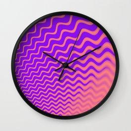 Wave waves chevron pink purple Wall Clock