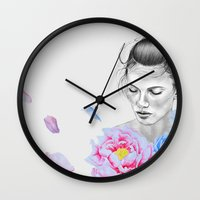 peony Wall Clocks featuring Peony by Libby Watkins Illustration