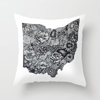 ohio state Throw Pillows featuring Ohio by Simplyfrank
