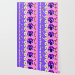 PINK-LILAC & PURPLE PANSY DAISY SPRING FLOWERS Wallpaper