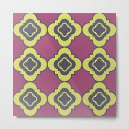 Quatrefoil - mauve, blue and yellow Metal Print