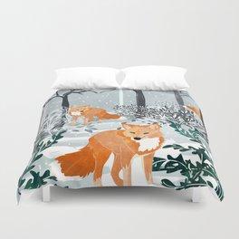 Fox Snow Walk Duvet Cover