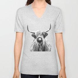 Black and White Highland Cow Portrait Unisex V-Neck