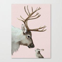 Reindeer and rabbit Canvas Print