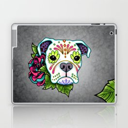 Boxer in White- Day of the Dead Sugar Skull Dog Laptop & iPad Skin