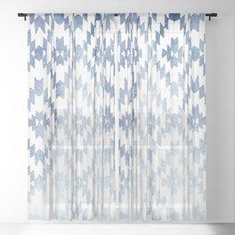 Indigo Ikat Print 3 Sheer Curtain