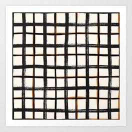 White brown plaid, pool tiles pattern, tartan Art Print