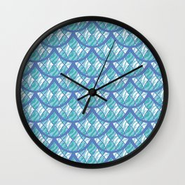 Mermaid Scales Pattern - Teal and Purple Palette Wall Clock