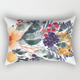 Watercolor  bouquet with orange and purple Rectangular Pillow