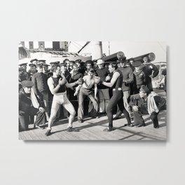 Boxing on a Naval Ship, 1899 Metal Print