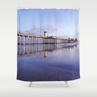 1984 Shower Curtains featuring Huntington Beach Pier * 1984 by John Lyman Photos