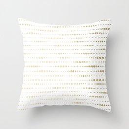 Modern Gold Polka Dot Stripes Throw Pillow
