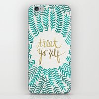 gold iPhone & iPod Skins featuring Treat Yo Self – Gold & Turquoise by Cat Coquillette