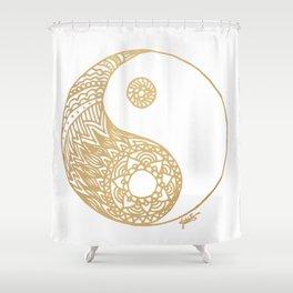 Golden Yin Yang Shower Curtain