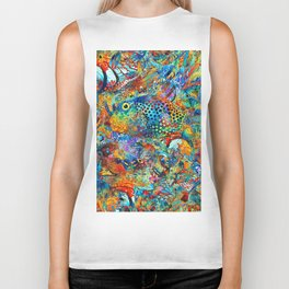 Tropical Beach Art - Under The Sea - Sharon Cummings Biker Tank