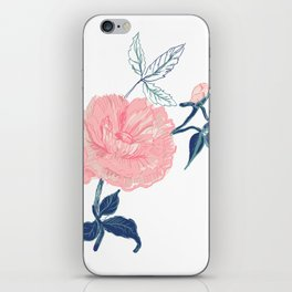 Vintage rose with indigo palette iPhone Skin