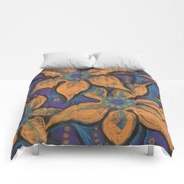 Golden flowers, decorative painting, pastel, floral motive Comforters