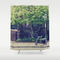 vespa Shower Curtains featuring Vespa by thirteesiks