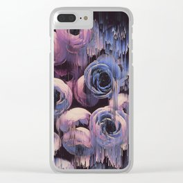 Floral Glitches Clear iPhone Case