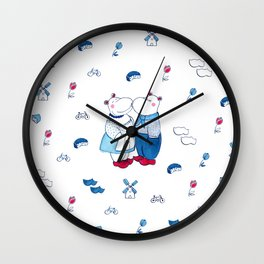 Adorable Dutch hippos in Delft blue style Wall Clock