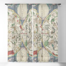 Celestial Astrological Map Astronomy Frederik de Wit, a Dutch cartographer from the 17th century Sheer Curtain