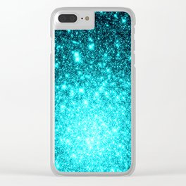 Turquoise Ombre Stars Clear iPhone Case