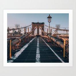Golden Hour On Brooklyn Bridge Art Print