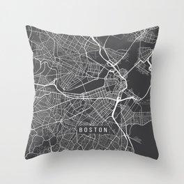 Boston Map, Massachusetts USA - Charcoal Portrait Throw Pillow