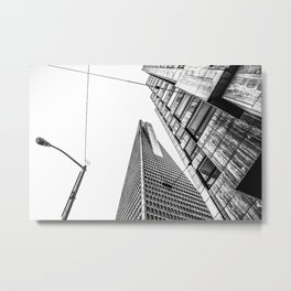 pyramid building and modern building in black and white at San Francisco, USA Metal Print