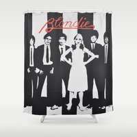blondie Shower Curtains featuring Blondie Stencil by Michellehill