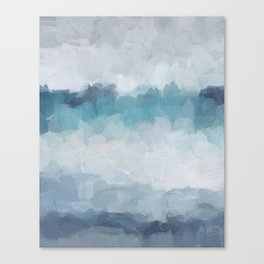 Aqua Teal Turquoise Sky Blue White Gray Abstract Art Modern Painting Canvas Print