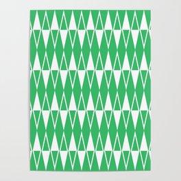 Mid Century Modern Diamond Pattern Green 234 Poster
