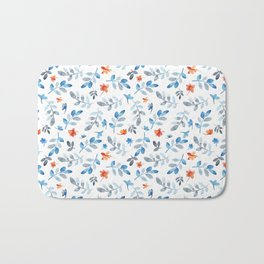 Hand painted watercolor orange pastel blue floral Bath Mat