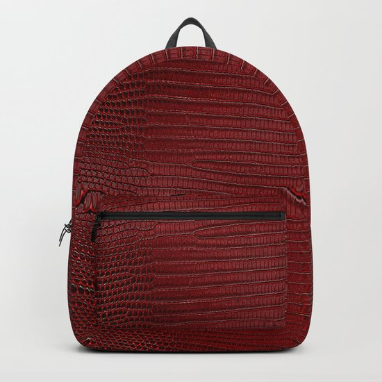 Red Lizard Leather Print Backpack