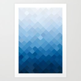 rhombus fantasy blue gradient Art Print