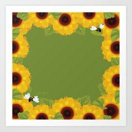 Sunflowers & Bee Art Print